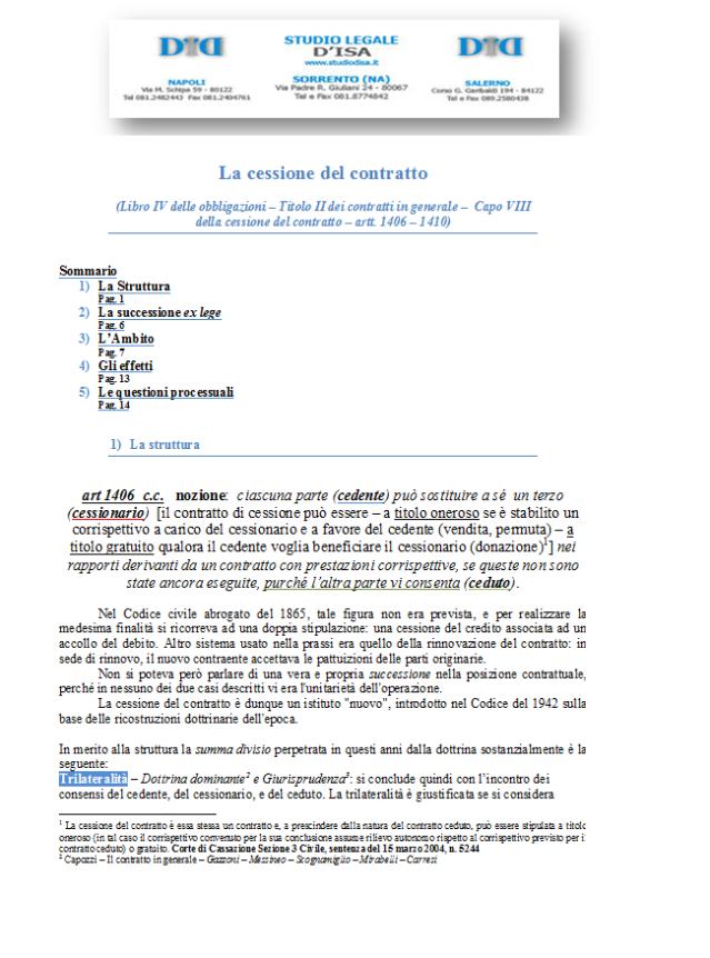 Avvocato renato d 39 isala cessione del contratto - Contratto di donazione immobile ...