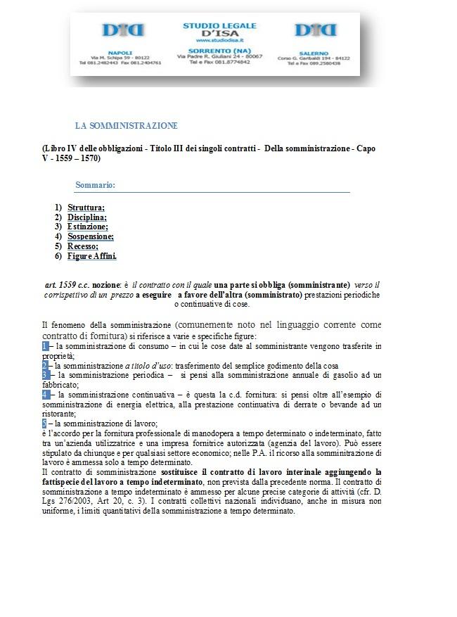 Il contratto di somministrazione ex artt 1559 e ss c c avvocato renato d 39 isa - Contratto di compravendita immobiliare fac simile ...