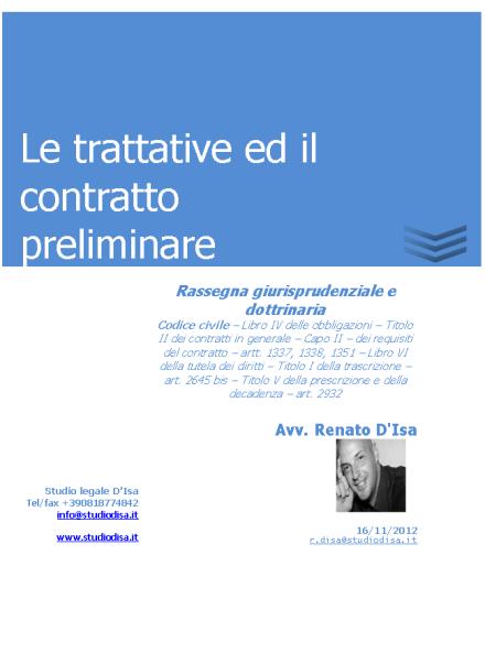 Le trattative ed il contratto preliminare