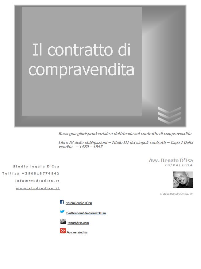 Il contratto di compravendita avvocato renato d 39 isa for Contratto di compravendita immobiliare